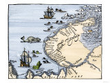 Early Map Showing Nova Zembla Off the Arctic Coast of Russia, Probably 1600 Impressão giclée premium