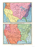 Maps of North American Colonies Before and after the French and Indian War, c.1700 Premium Giclee Print