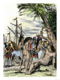 Columbus Giving Hawk's Bells to Natives after Landing in the Caribbean, c.1492 Giclee Print