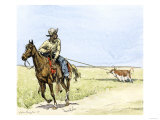 African-American Cowboy Pulling a Longhorn Out of the Mud Giclee Print