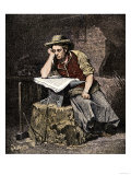 Young Blacksmith Reading a Newspaper, c.1800 Giclee Print