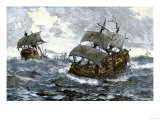 Retreat of the Spanish Armada from England in Stormy Seas, c.1588 Giclee Print