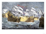 Seizure of Spanish Treasure Ships by the English Fleet of Sir Francis Drake Giclee Print
