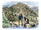Gold Rush Prospectors Washing Sediments from a Stream to Find Nuggets in California Giclee Print