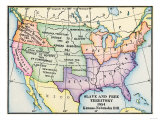 Map of Slave and Free Areas of the United States in 1854, at the Time of the Kansas-Nebraska Bill Giclee Print