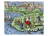 Transporting Merchandise on the Great Silk Road in the Middle Ages Premium Giclee Print