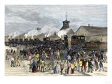 Great Railroad Strike Workers Blockade the Locomotive Engines at Martinsburg, West Virginia, 1877 Giclee Print
