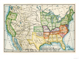 U.S. Map Showing Seceeding States by Date, American Civil War, c.1861 Giclee Print