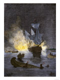 Native Americans Burning a Schooner in the Detroit River at Night during Pontiac's War, c.1763-1764 Giclee Print