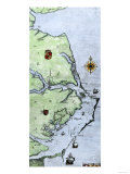 John White's Map of the Virginia and Carolina Coast Where Roanoke Colony Was Located, c.1500 Premium Giclee Print