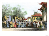Marco Polo Welcomed at the Court of Kublai Khan in China, c.1200 Premium Giclee Print