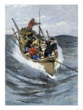 Nantucket Sleigh-Ride in Which a Longboat Is Pulled by a Harpoon Line Lodged in a Whale Premium Giclee Print