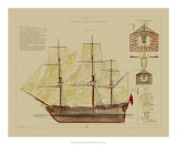 Antique Ship Plan VIII Giclee Print