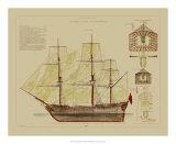 Antique Ship Plan VIII Posters