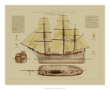 Antique Ship Plan VII Prints