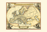 Nautical Map of Europe Poster