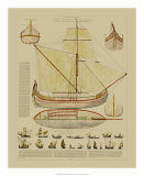 Antique Ship Plan I Giclee Print