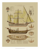 Antique Ship Plan II Giclee Print