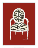 Zebra Chair on Red Posters by Chariklia Zarris