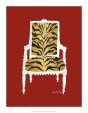 Tiger Chair on Red Poster by Chariklia Zarris