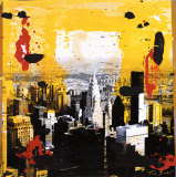 Yellow City Kunstdruck von Tony Soulie