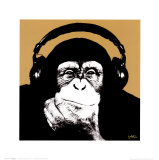 Headphone Monkey Art by Steez 