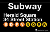 Subway Herald Square- 34 Street Station Tin Sign