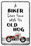 A Biker Lives Here Tin Sign