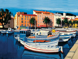 Barques de Pecheurs dans le Port d&#39;Ajaccio Affiche par Jean-Claude Quilici