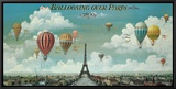 Ballooning Over Paris Framed Canvas Print by Isiah and Benjamin Lane