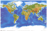 Satellite Physical Map of The World Prints