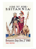 Side by Side with Britannia Poster by James Montgomery Flagg
