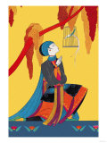 Bird and Kneeling Girl Posters