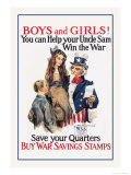 Boys and Girls, War Savings Kunstdrucke von James Montgomery Flagg