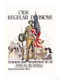 Our Regular Divisions, Enlist for the Infantry Poster von James Montgomery Flagg
