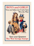 Uncle Sam, Boys and Girls, c.1918 Poster by James Montgomery Flagg