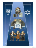 One Israeli Banking, Two Israelis Playing Chess, Three Israelis in Orchestra Prints by Dimitri Deeva