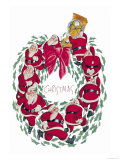 Santa Christmas Wreath Posters by Abner Dean