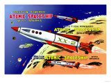 Friction Powered Atomic Spaceship with Sparks Posters