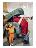 Boy Upset to See Santa Mechanic under Car Hood Posters