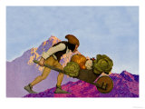 Knave with a Wheelbarrow Premium Giclée-tryk af Maxfield Parrish