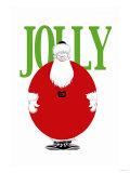 Jolly Christmas Ball-Shaped Santa Posters