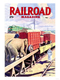 Railroad Magazine: The Circus on the Tracks, 1946 Premium Giclee Print