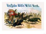 Buffalo Bill: Attack on Stagecoach Premium Giclee Print