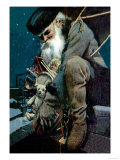 Santa Crouches on the Roof with an Armful of Toys Posters by  Balfour