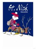 Skinny Scottish Santa Rides on Reindeer Prints