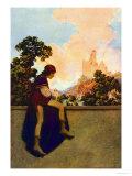 The Knave Watching Violetta Depart Affiches par Maxfield Parrish