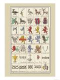 Heraldic Symbols: Shoveller and Seax Print by Hugh Clark