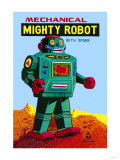Mechanical Green Mighty Robot with Spark Posters