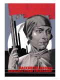 Du er nu en fri kvinde, hjælp med at bygge socialismen op!, på russisk Giclee-tryk i høj kvalitet af Adolf Strakhov